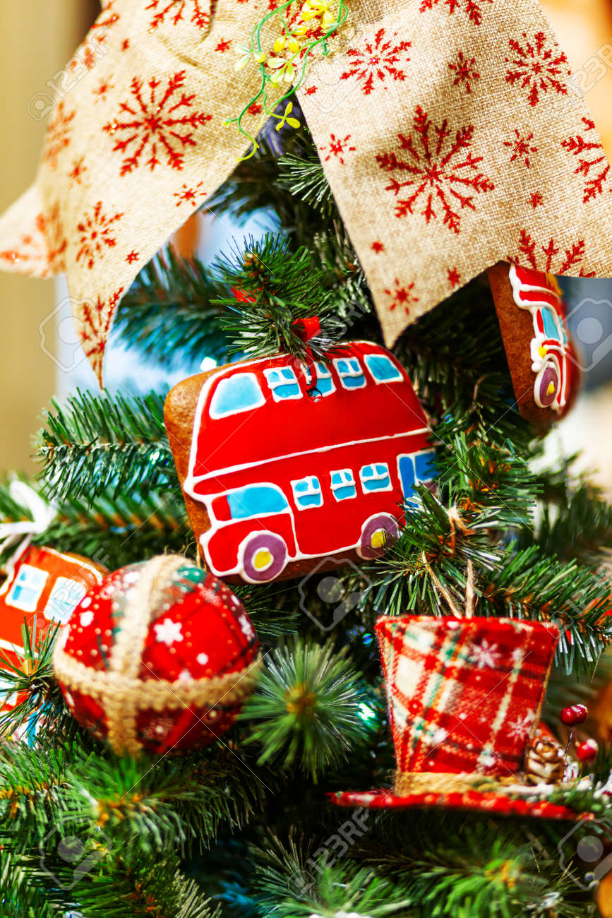 Fir Tree Decorated With Gingerbread In Shape Of Double Decker Stock Photo Picture And Royalty Free Image Image 110919701