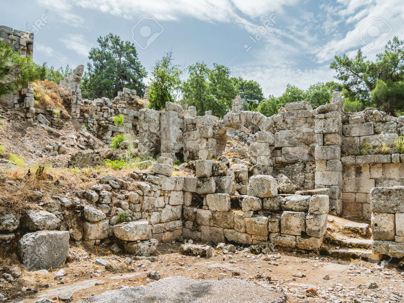 Ruins of large bath of ancient Phaselis city. Famous architectural landmark, Kemer district, Antalya province. Turkey. - 172806642