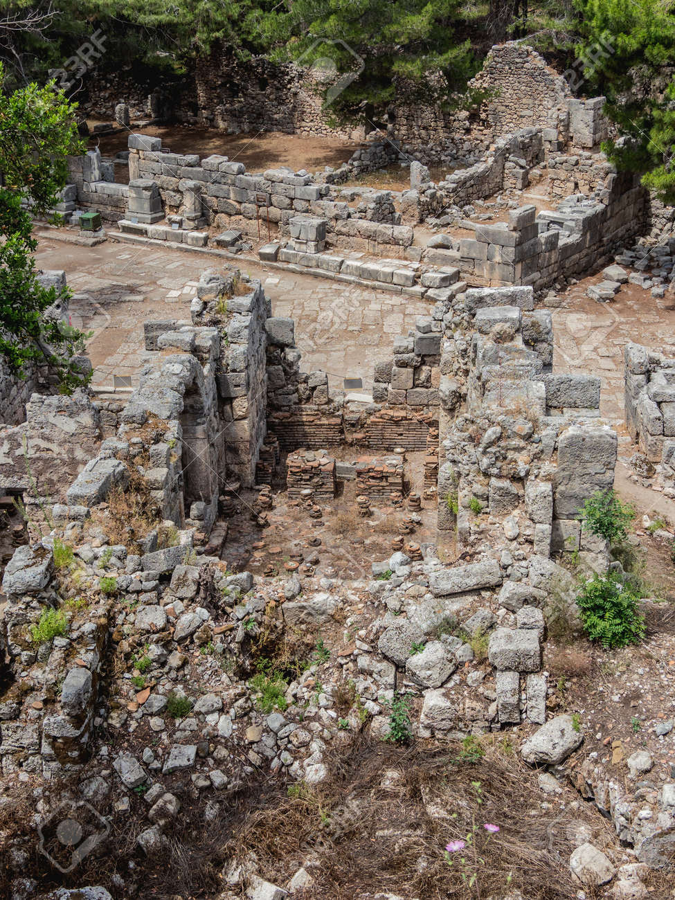 Ruins of large bath in ancient Phaselis city. Famous architectural landmark, Kemer district, Antalya province. Turkey. - 172806599