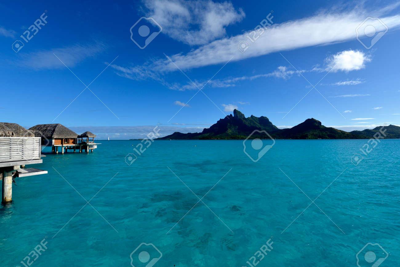 Bora Bora View Over Beautiful Turquoise Lagoon To Volcanic Mount