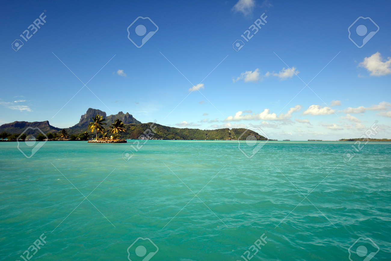 Bora Bora View Over Beautiful Blue Lagoon To Volcanic Mount