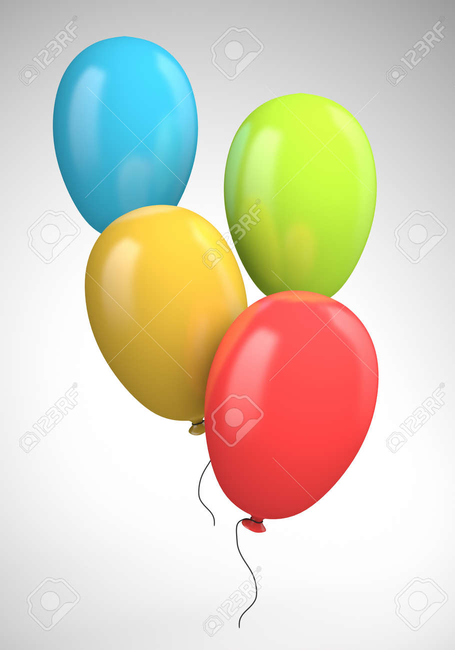 Four colored balloons. 3d illustration - 20314965