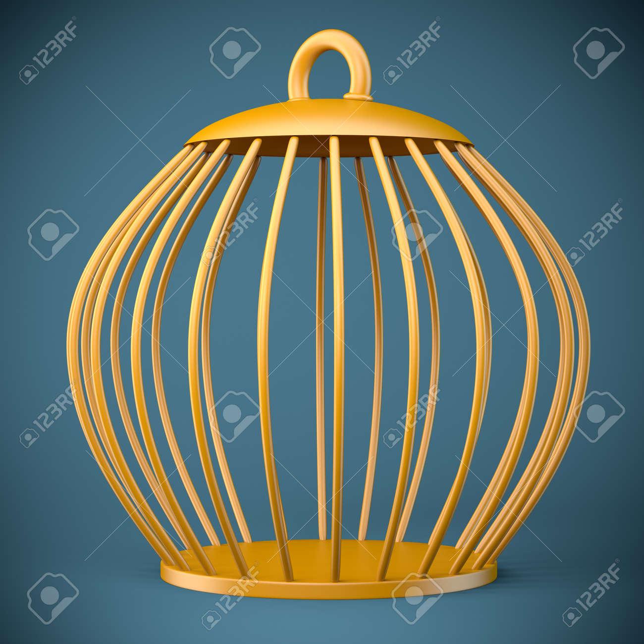 Golden bird cage on dark background. 3d illustration - 22295303