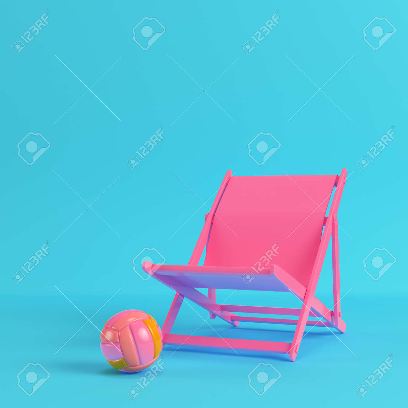 Pink Beach Chair With Volleyball Ball On Bright Blue Background Stock Photo Picture And Royalty Free Image Image 94790835