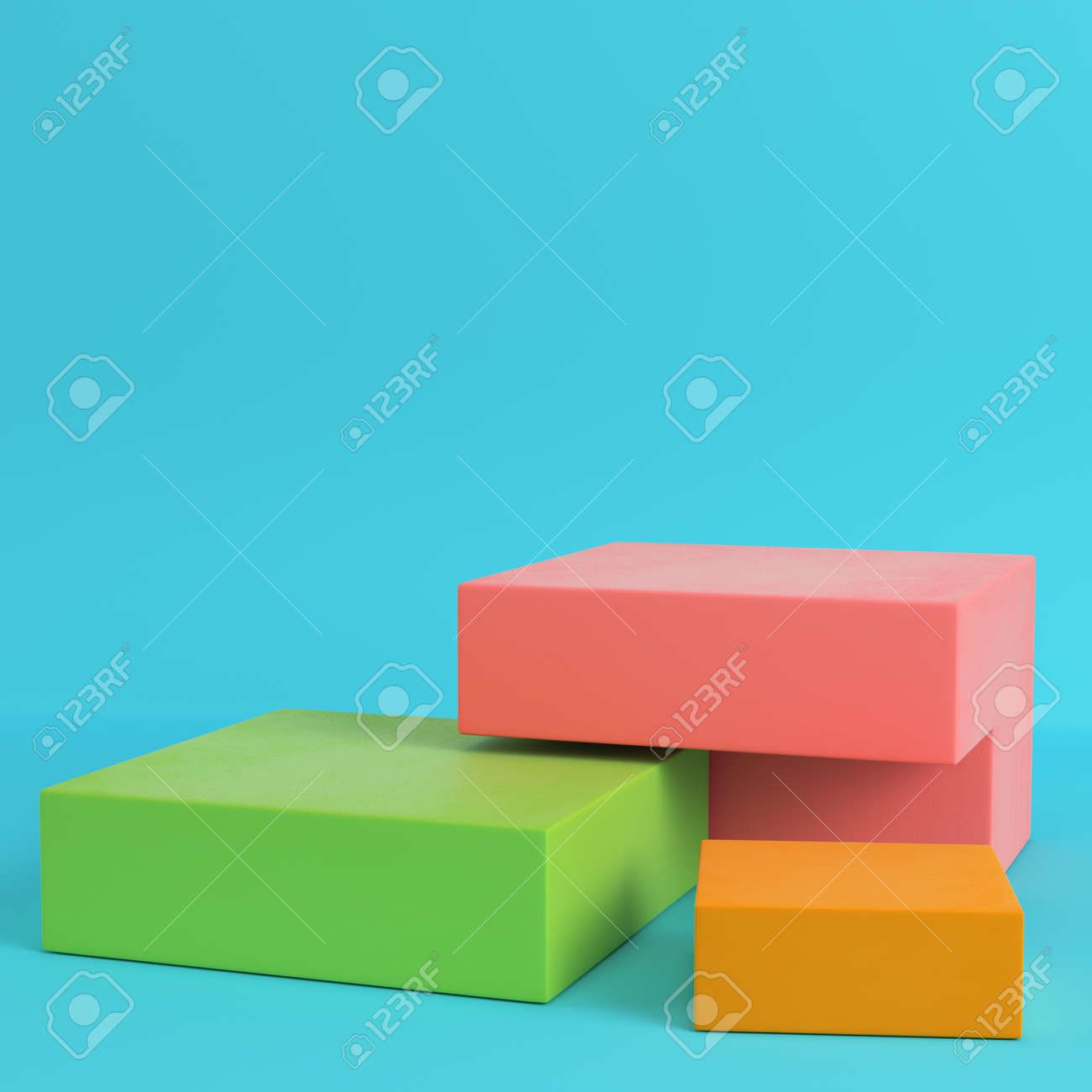 Colorfull boxes on bright blue background in pastel colors. Minimalism concept. 3d render - 94740804