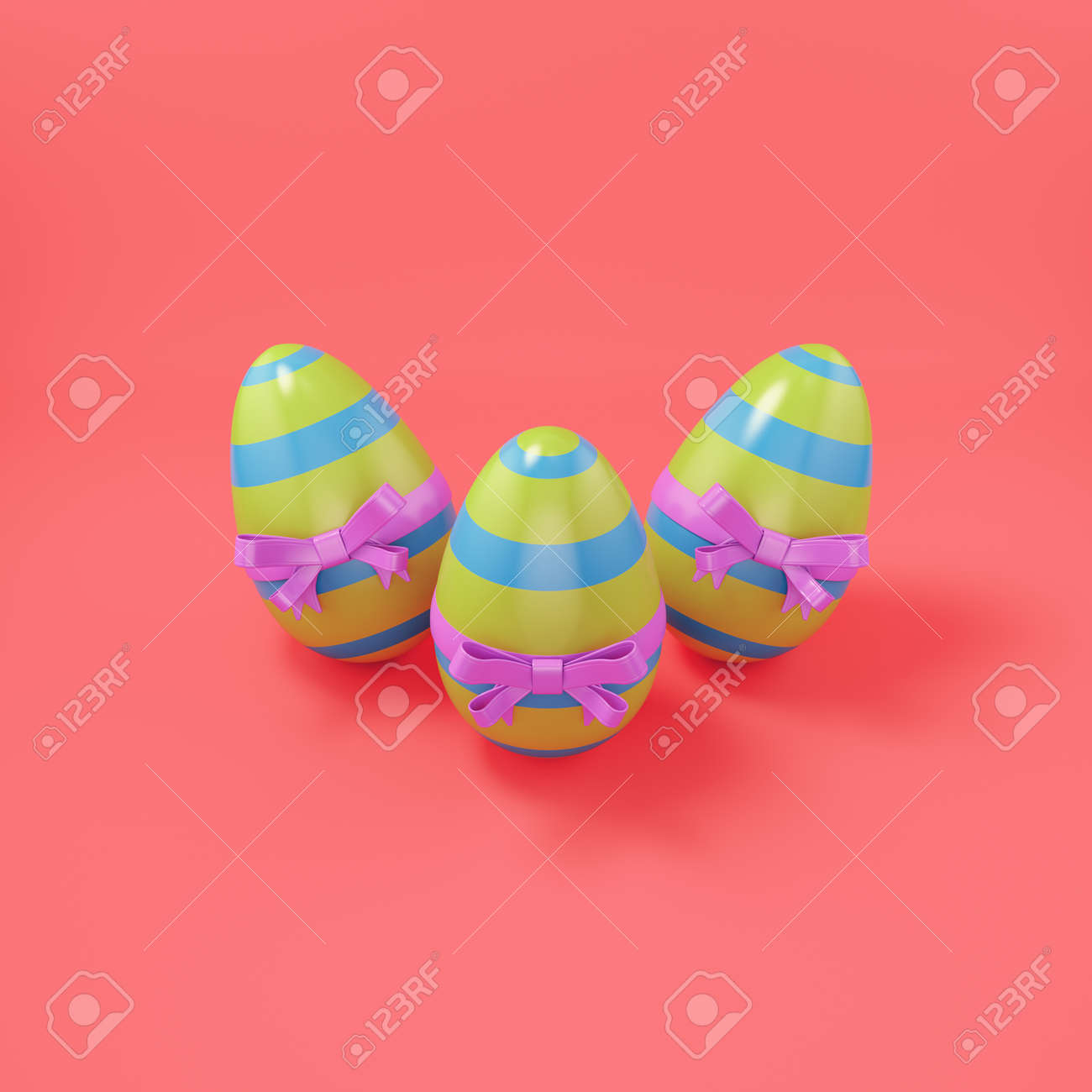 Easter eggs with bow on bright red background. 3d render - 166153788