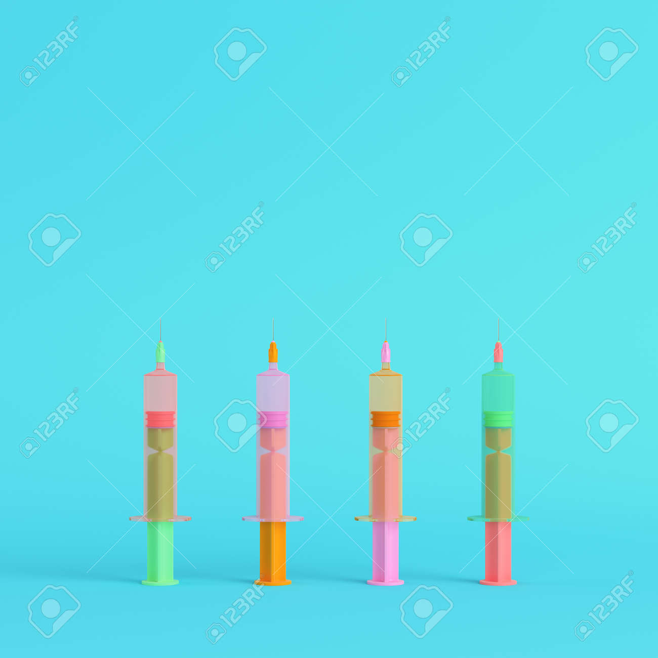 Pink syringe with vaccine on bright blue background in pastel colors. Minimalism concept. 3d render - 169043203