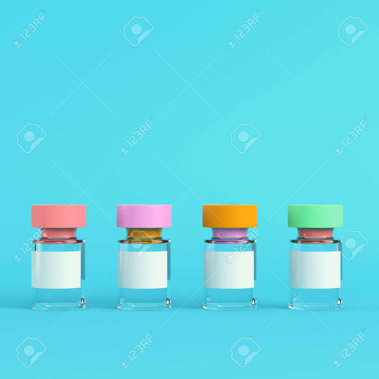 Pink syringe with vaccine on bright blue background in pastel colors. Minimalism concept. 3d render - 169043254