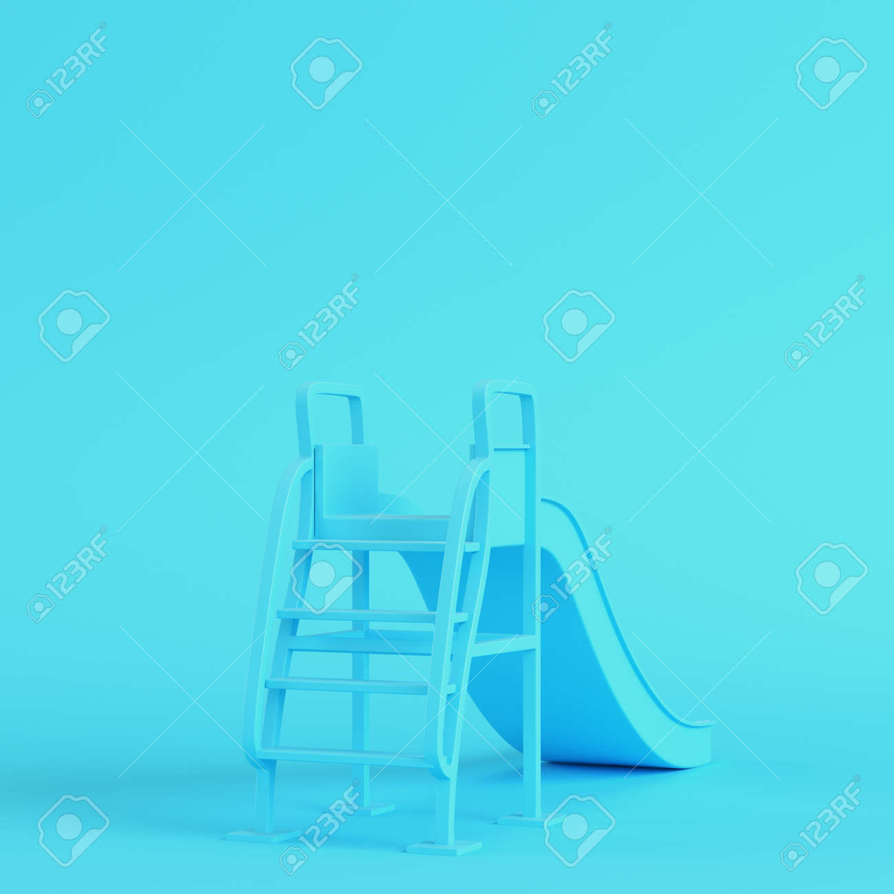 Children slide on bright blue background in pastel colors. Minimalism concept. 3d render - 170609729