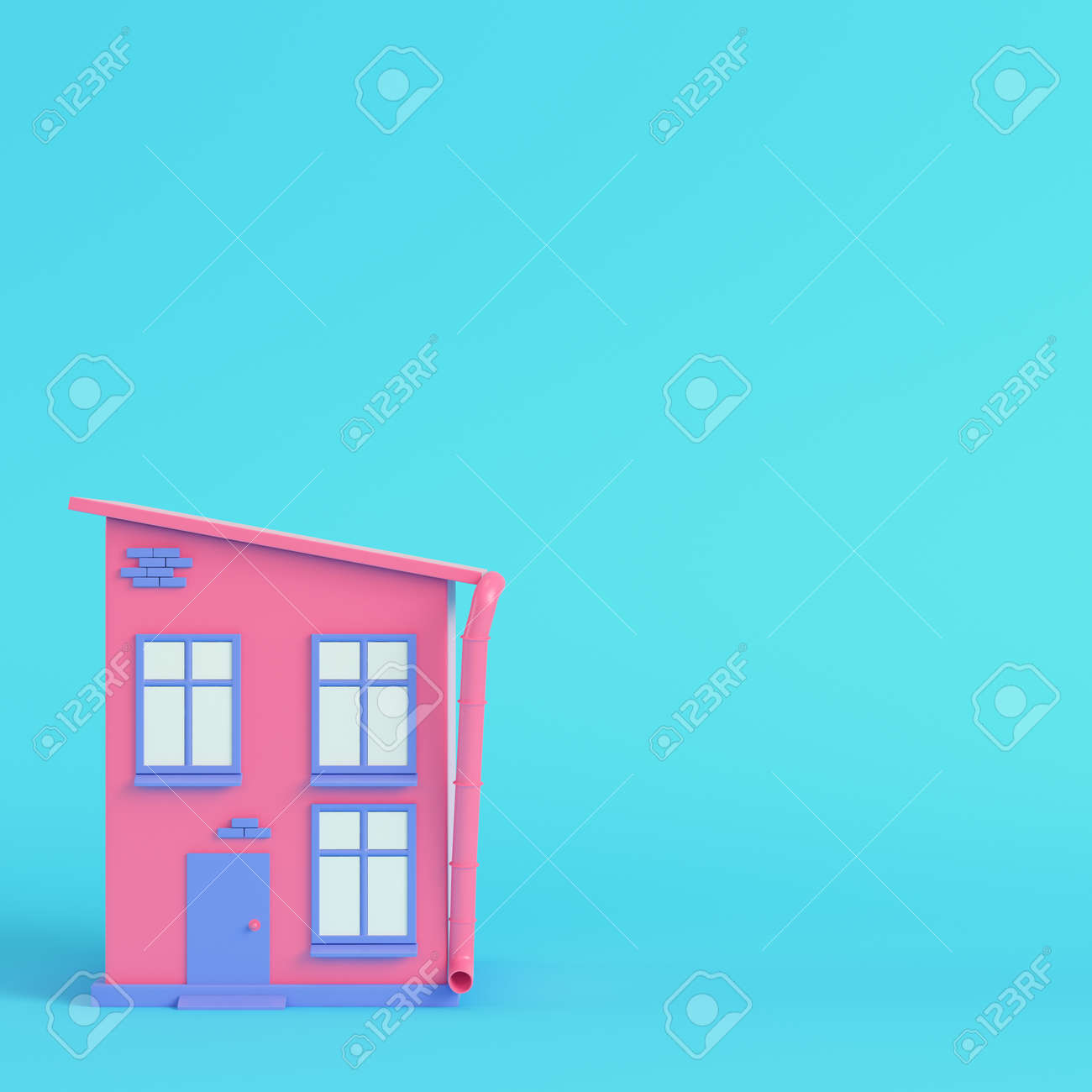 Pink cartoon styled house on bright blue background in pastel colors. Minimalism concept. 3d render - 170609737