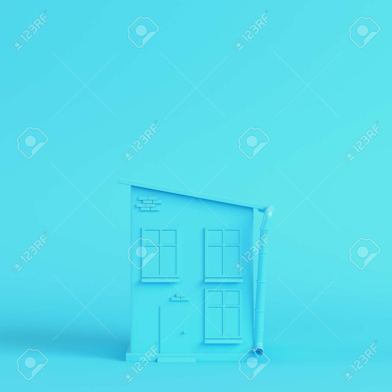 Cartoon styled house on bright blue background in pastel colors. Minimalism concept. 3d render - 170609739