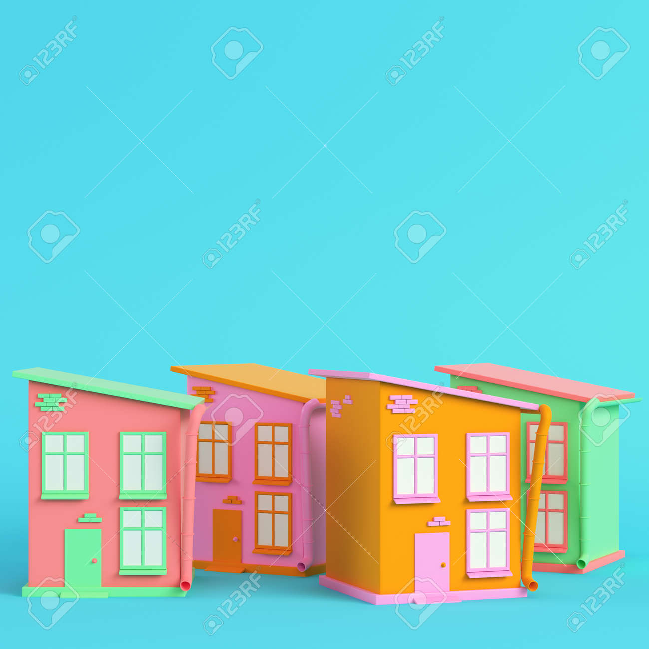 Colorful cartoon styled houses on bright blue background in pastel colors. Minimalism concept. 3d render - 170609750