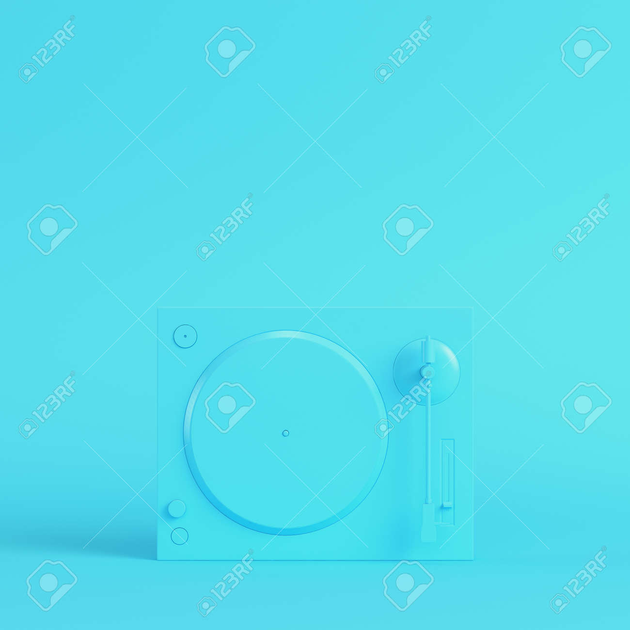 Yellow turntable on bright blue background in pastel colors. Minimalism concept. 3d render - 170609753