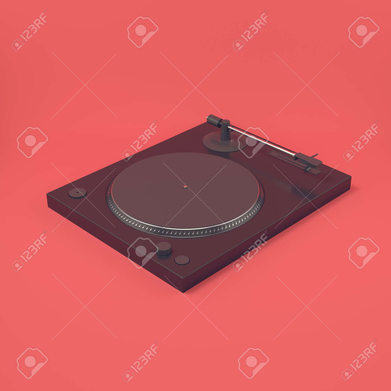 Yellow turntable on bright blue background in pastel colors. Minimalism concept. 3d render - 170609756