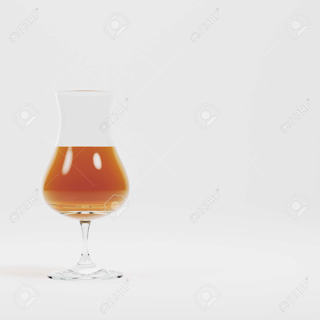 Glass with alcohol on bright background. 3d render - 170125079