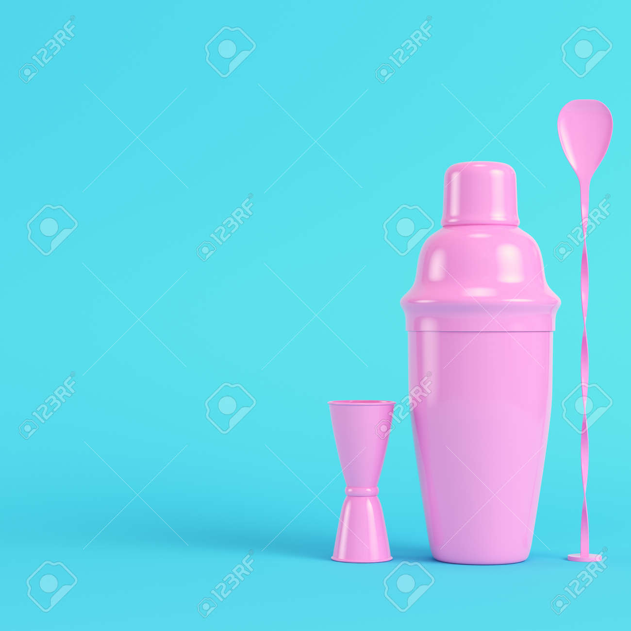 Pink cocktail shaker with jigger and mix spoon on bright blue background in pastel colors. Minimalism concept. 3d render - 170609761