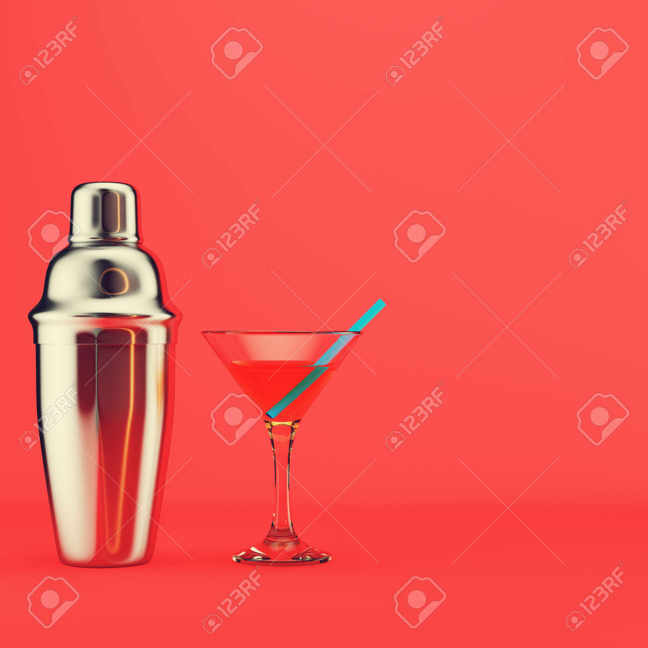 Shaker, and cocktail with straw on red background. 3d render - 170609762