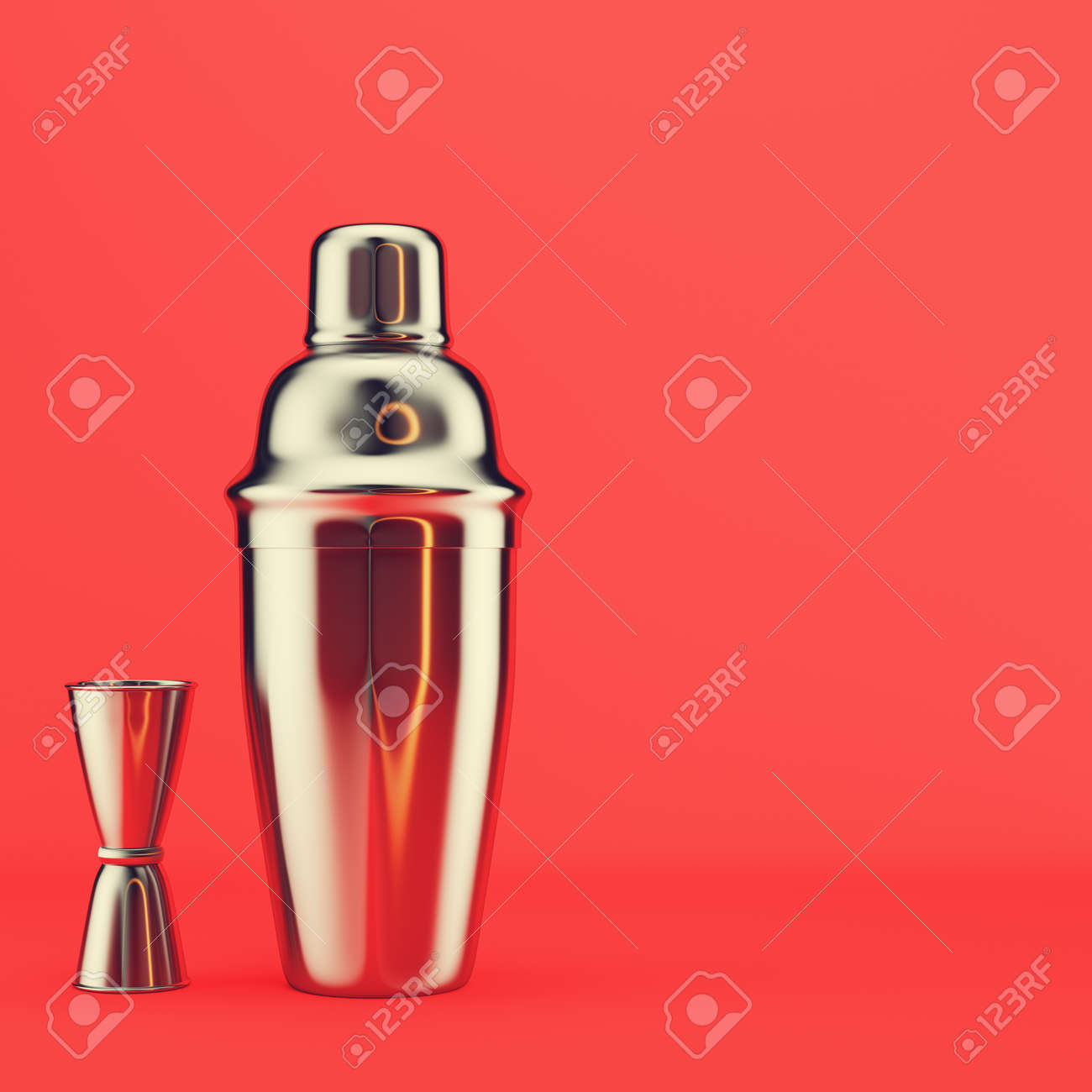 Shaker and jigger on red background. 3d render - 170609763