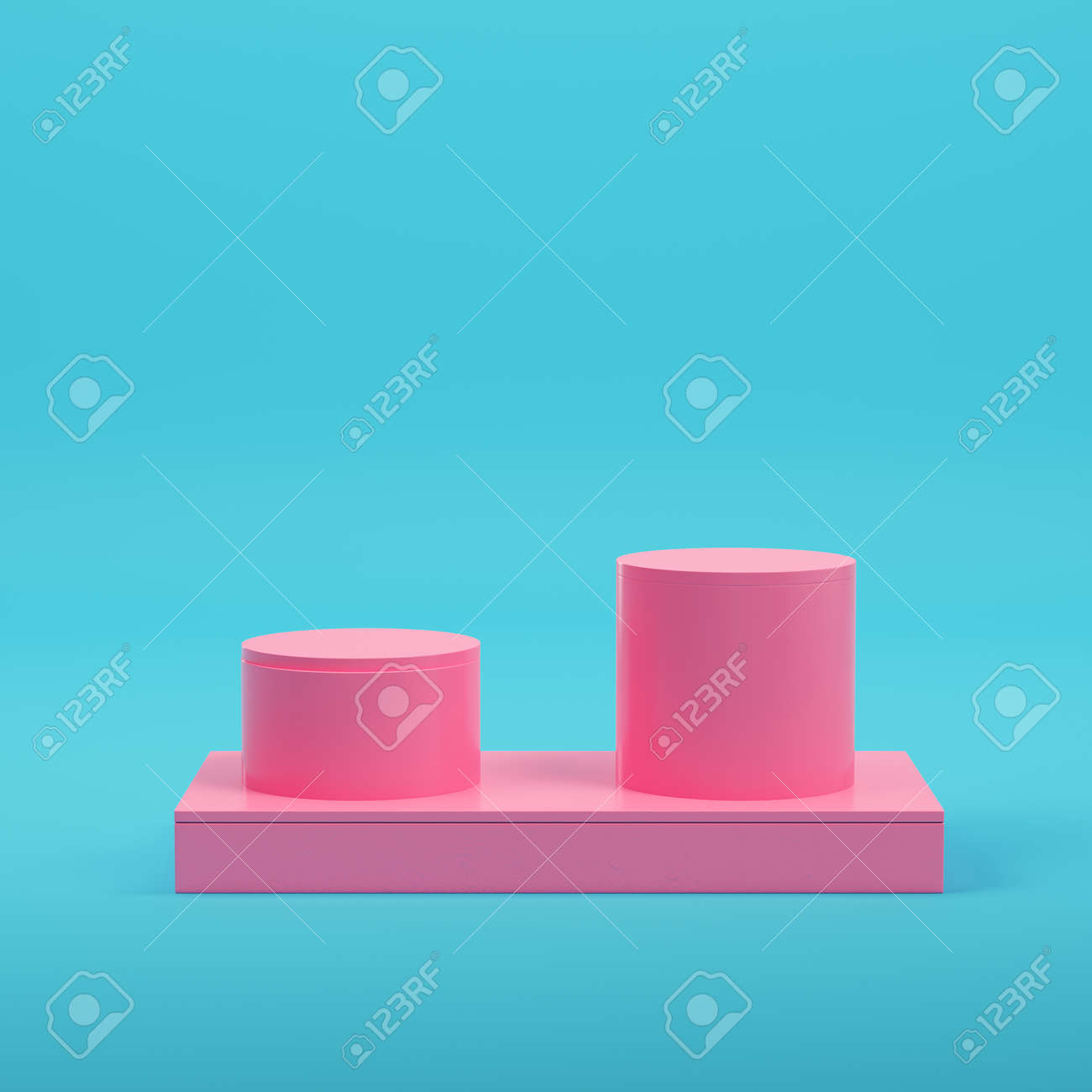 Pink three ancient columns on bright blue background in pastel colors. Minimalism concept. 3d render - 170609768