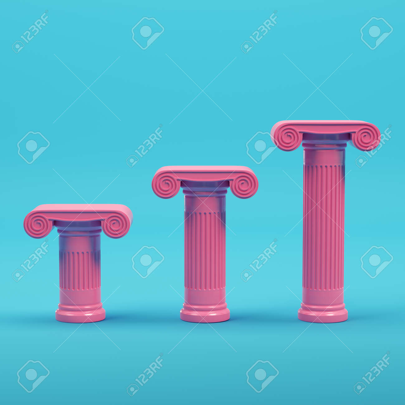 Pink three ancient columns on bright blue background in pastel colors. Minimalism concept. 3d render - 170609774