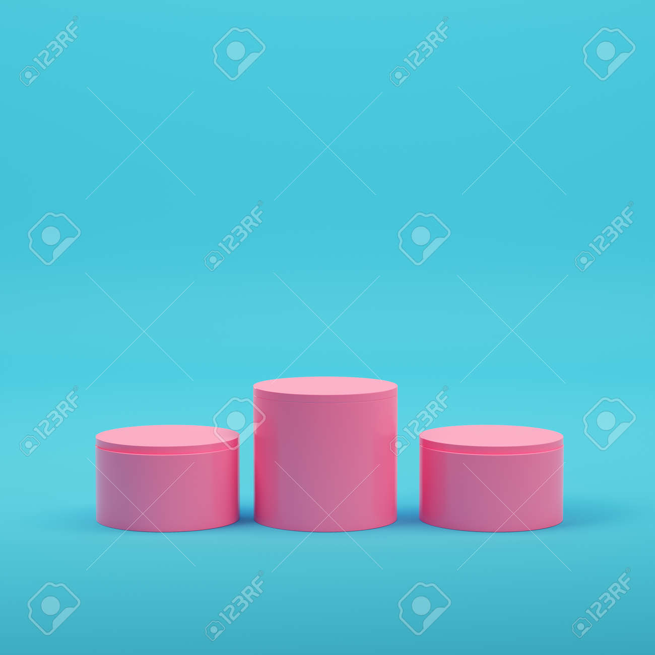 Pink empty glowing product display on bright blue background in pastel colors. Minimalism concept. 3d render - 172255040