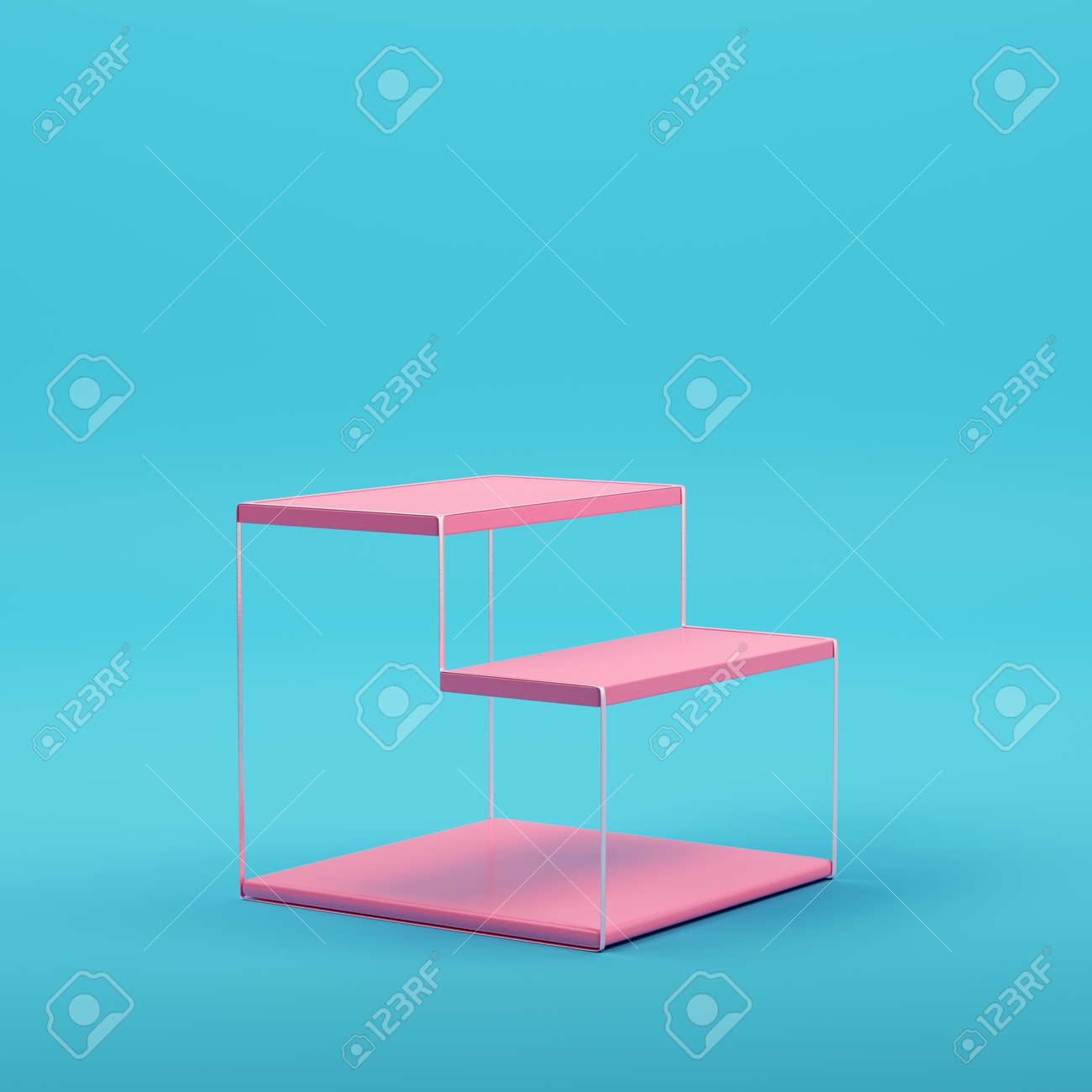 Pink empty glowing product display on bright blue background in pastel colors. Minimalism concept. 3d render - 172255041