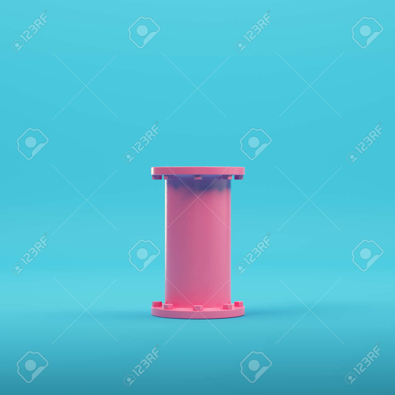 Pink empty glowing product display on bright blue background in pastel colors. Minimalism concept. 3d render - 172255044