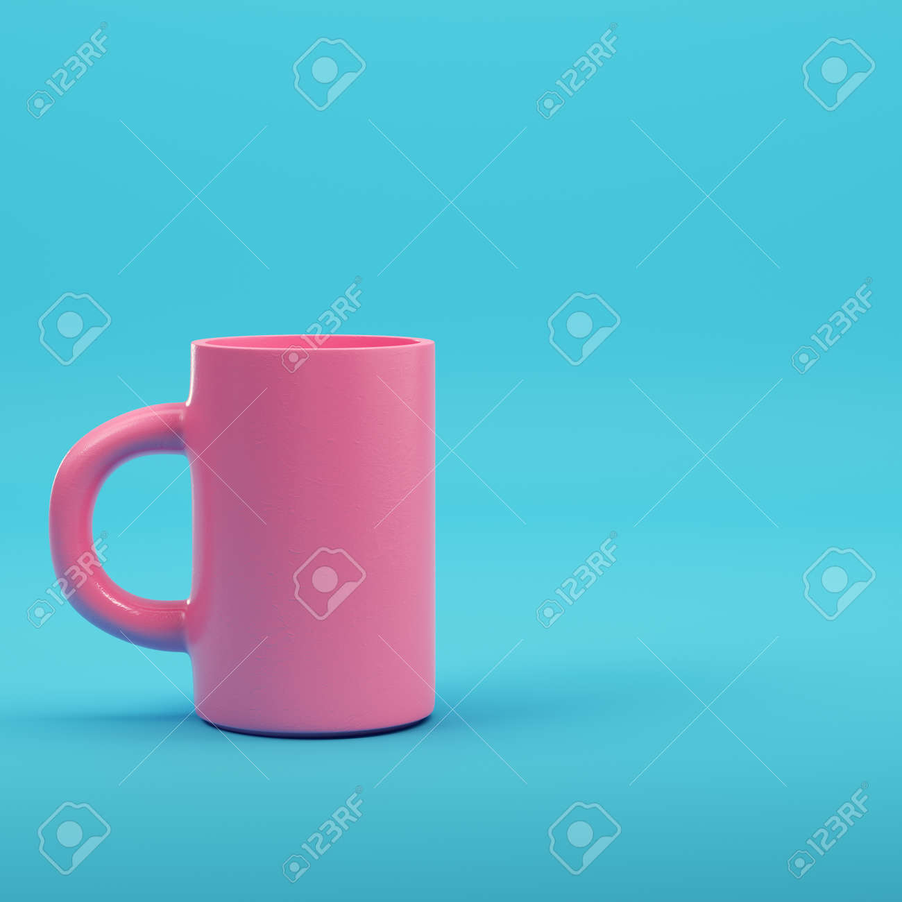 Pink coffee mug on bright blue background in pastel colors. Minimalism concept. 3d render - 172223019