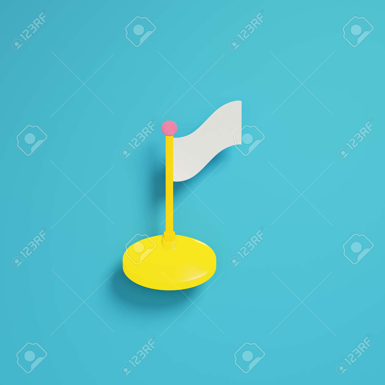 Flag on bright blue background in pastel colors. Minimalism concept. 3d render - 172222993