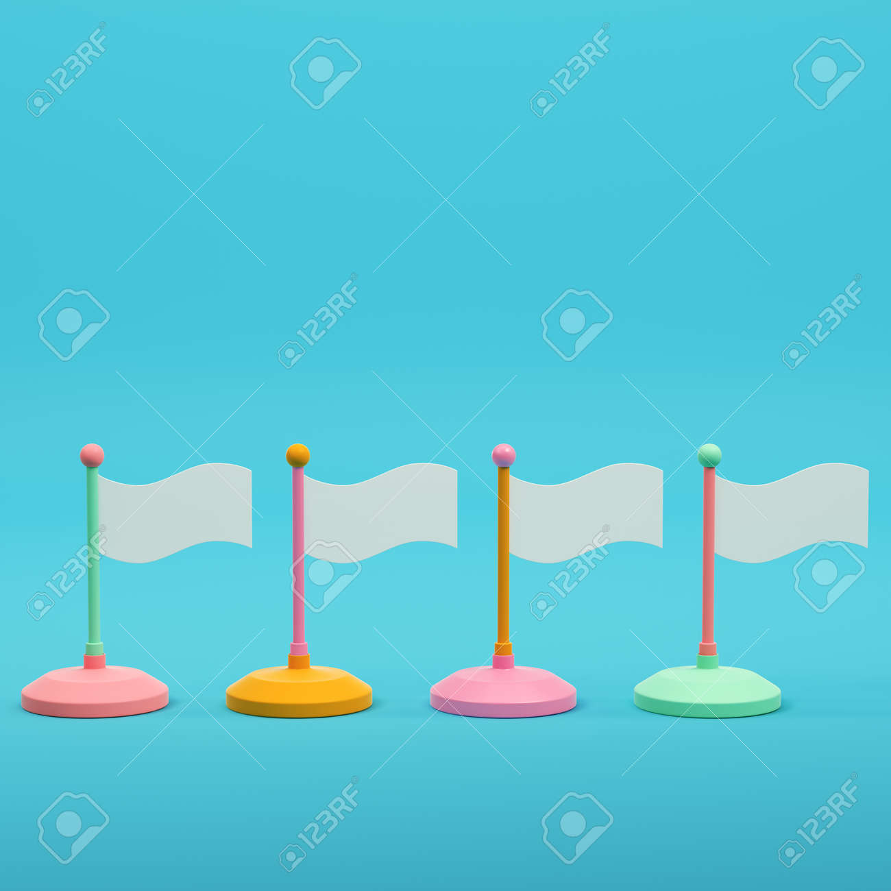 Colorful flags on bright blue background in pastel colors. Minimalism concept. 3d render - 172255050