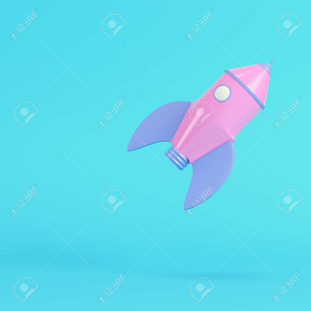 Pink cartoon styled rocket on bright blue background in pastel colors. Minimalism concept. 3d render - 172726649