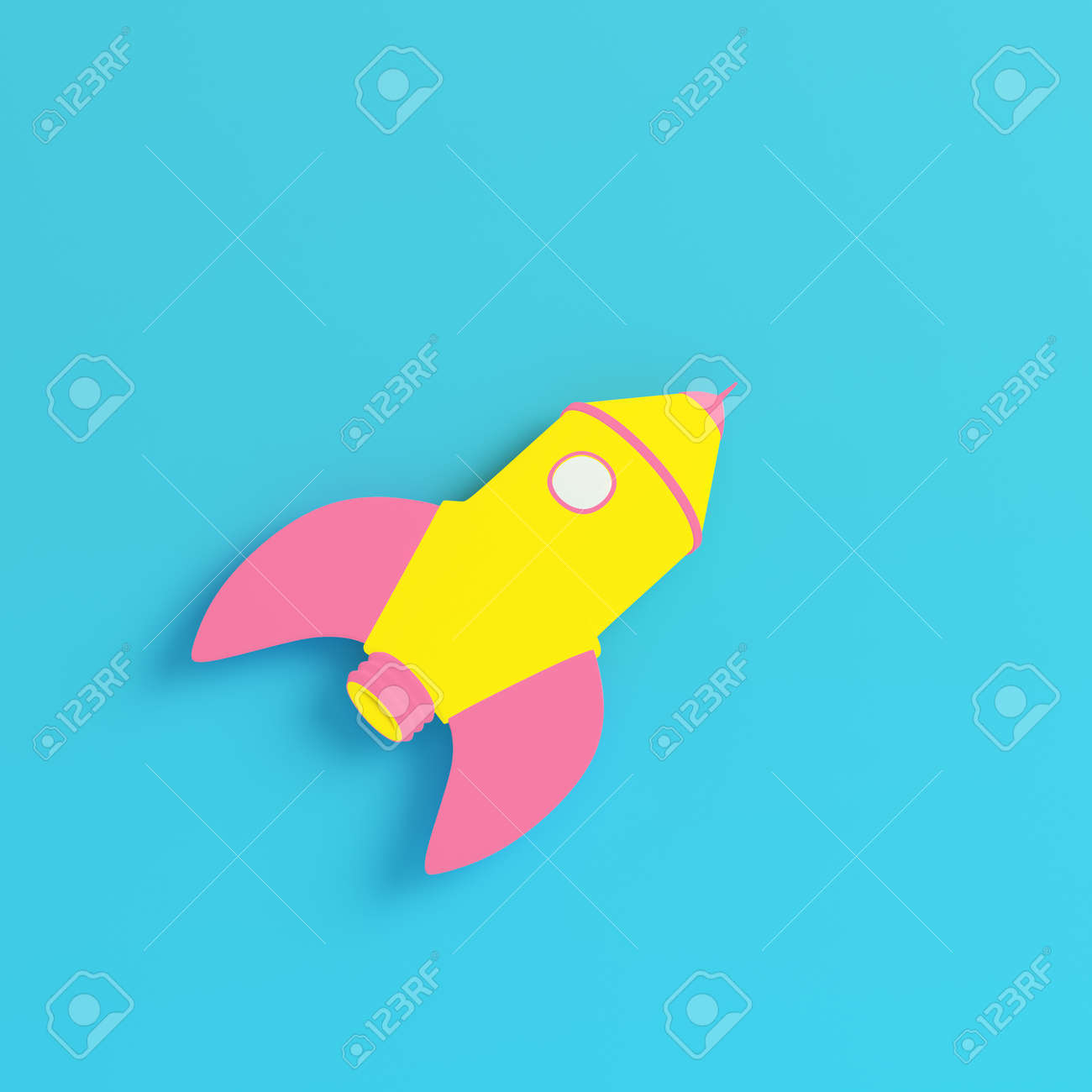 Pink cartoon styled rocket on bright blue background in pastel colors. Minimalism concept. 3d render - 172726073