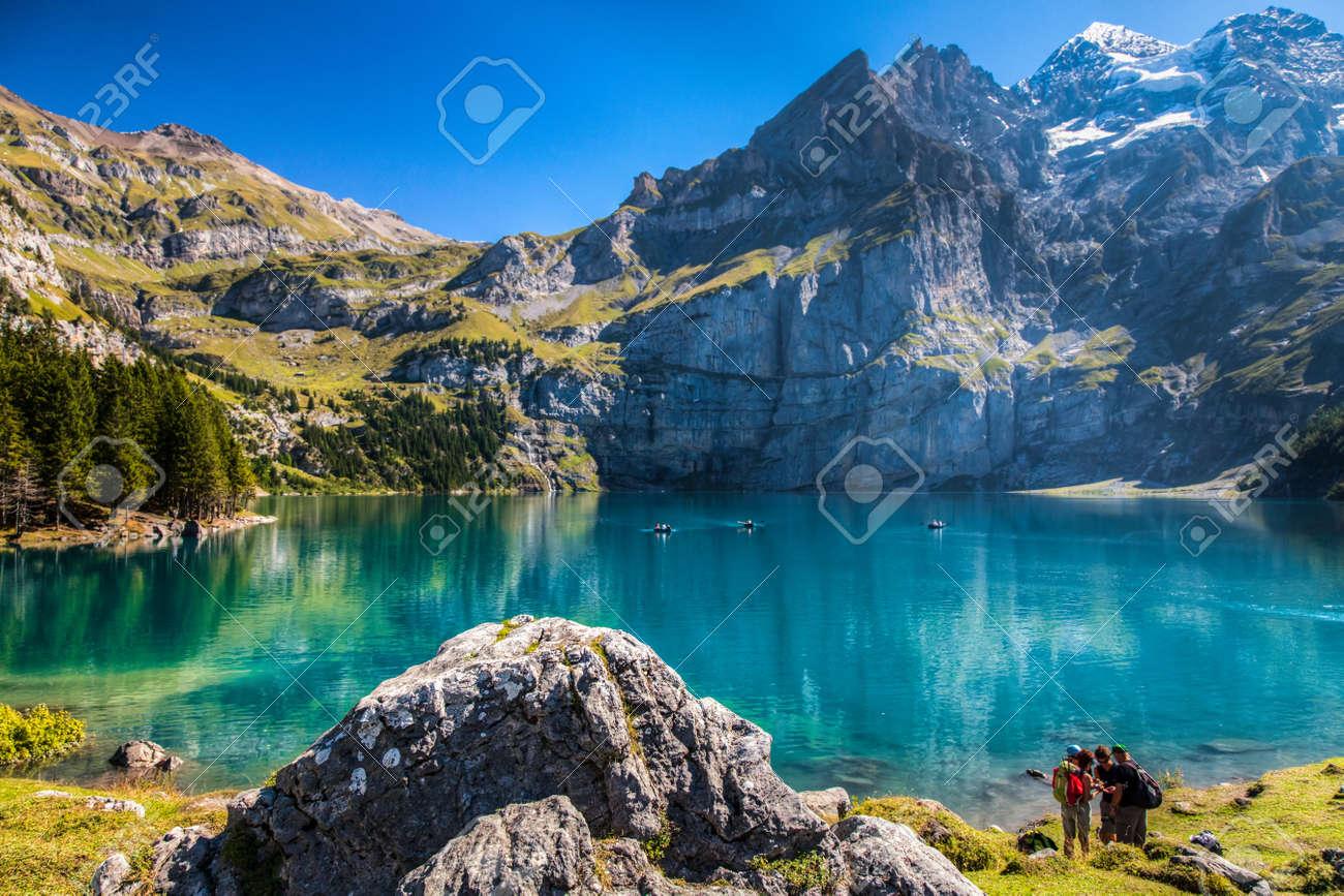 the oeschinen mountain lake ot oeschinensee in kandersteg