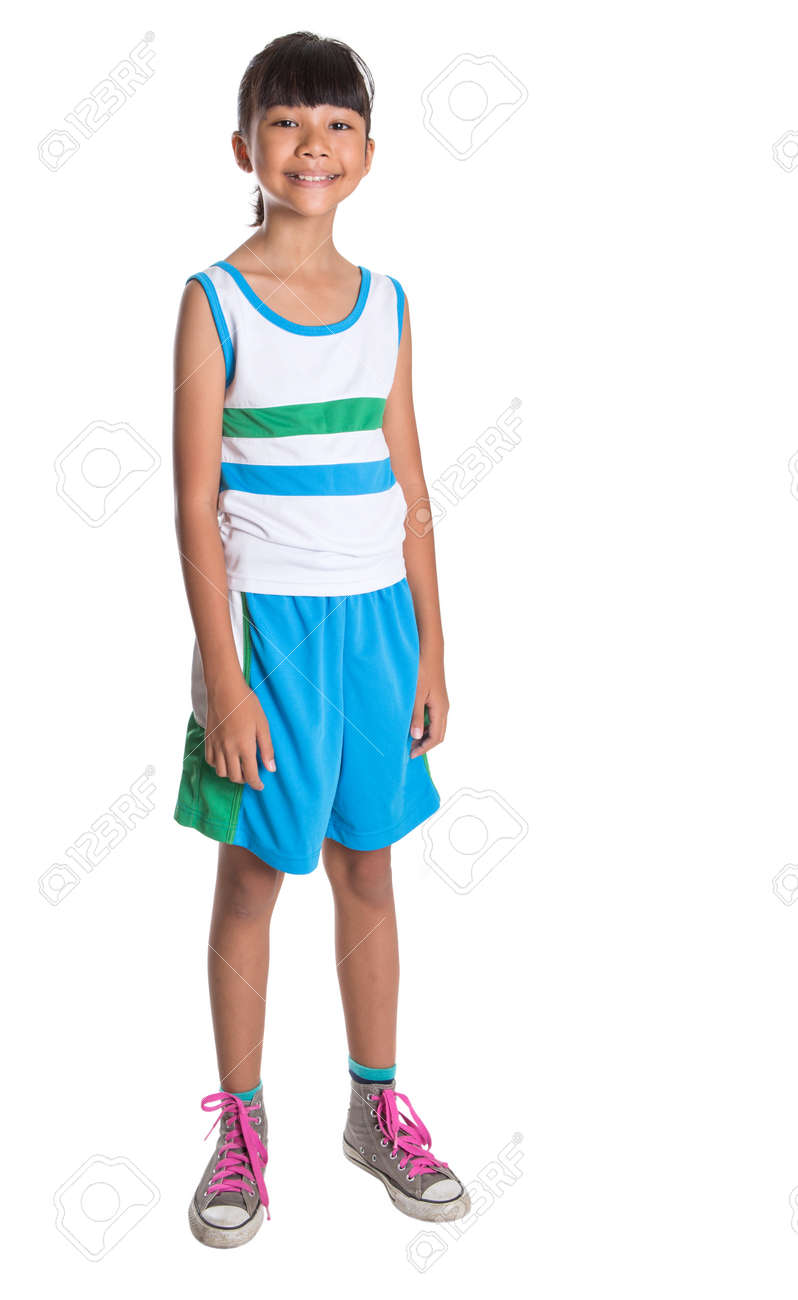 6370119bbcfbf Young Girl In Athletic Attire Over White Background Stock Photo ...