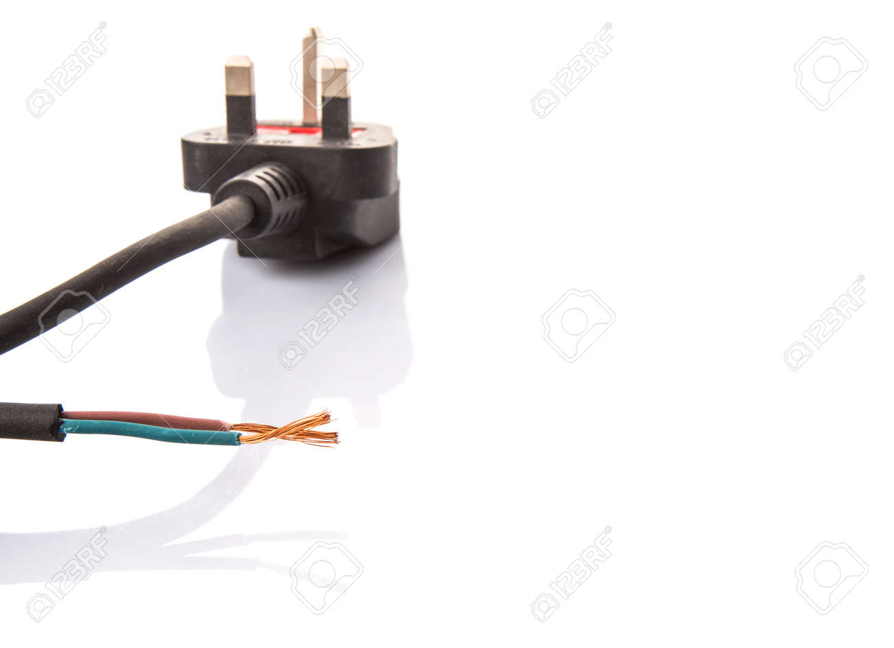 British Standard Three Pin AC Power Plugs And Exposed Electrical ...