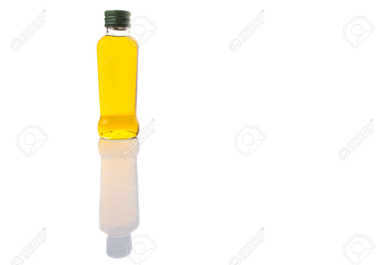 A Bottle Of Olive Oil Over White Background