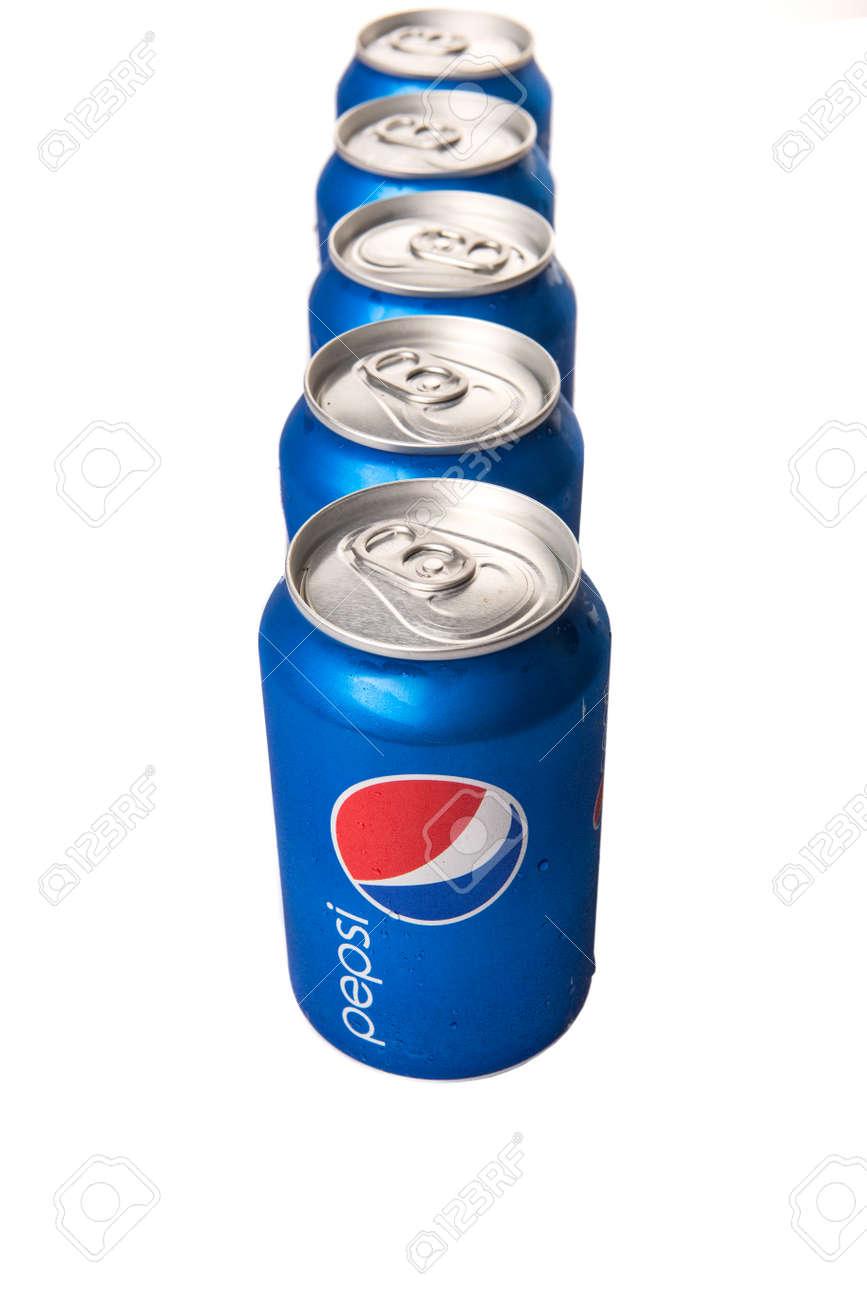 KUALA LUMPUR, MALAYSIA - FEBRUARY 2ND 2015  Cans of Pepsi drinks