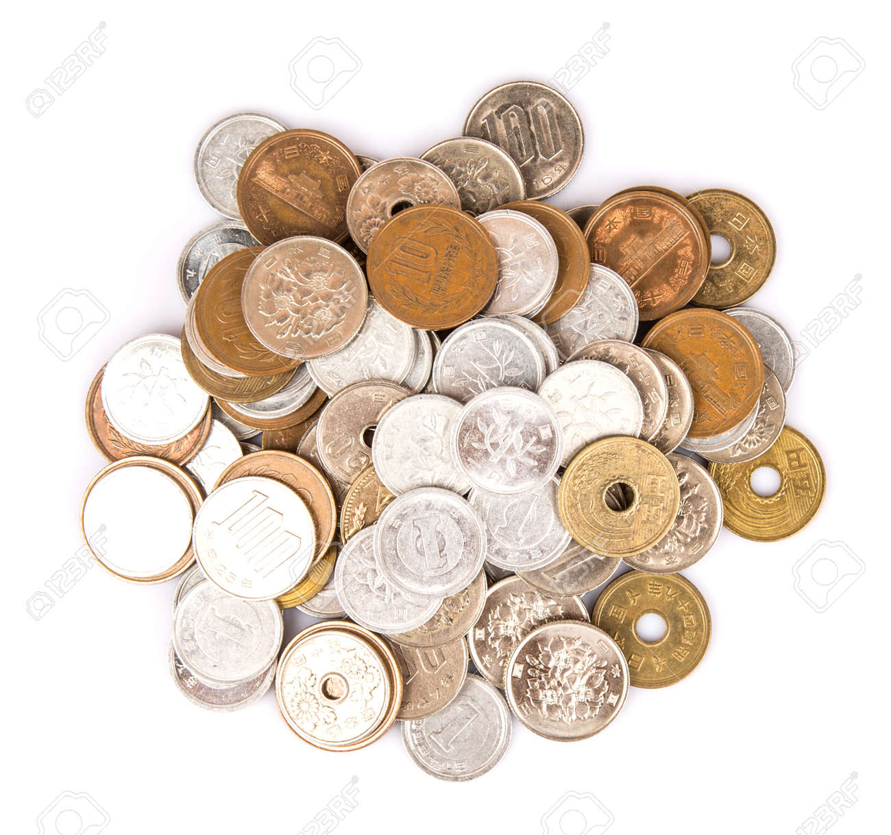 japanese yen coins over white background stock photo picture and