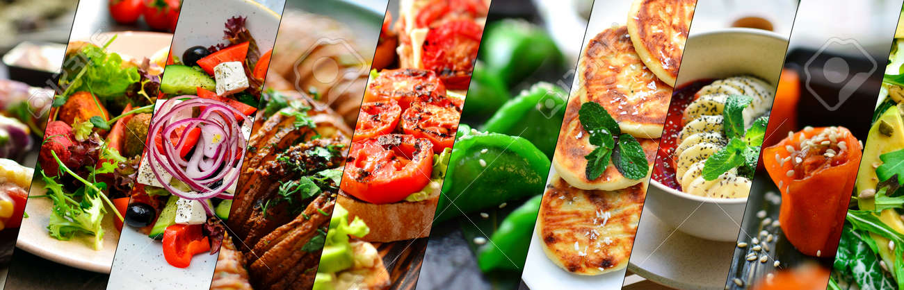 Collage of various food. Healthy and tasty vegetarian food, menu. Delicious - 148387370