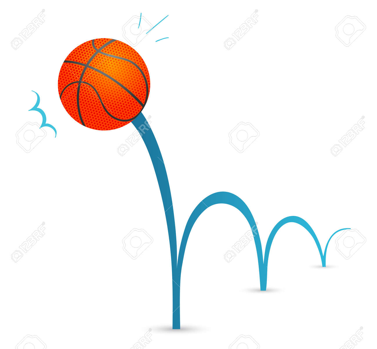 Bouncing basketball ball cartoon illustration Stock Vector - 13029357