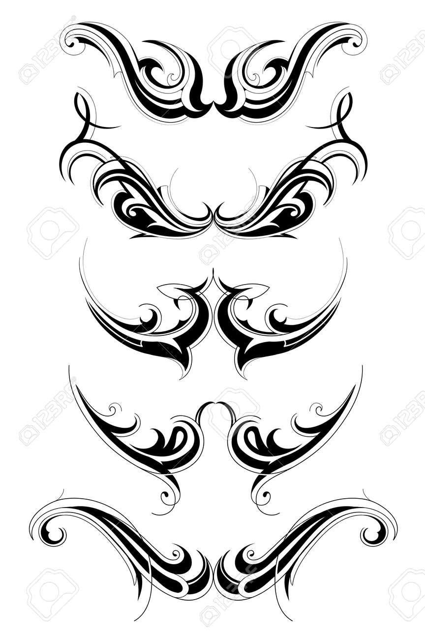 Set of various tribal art tattoo isolated on white Stock Vector - 15412701