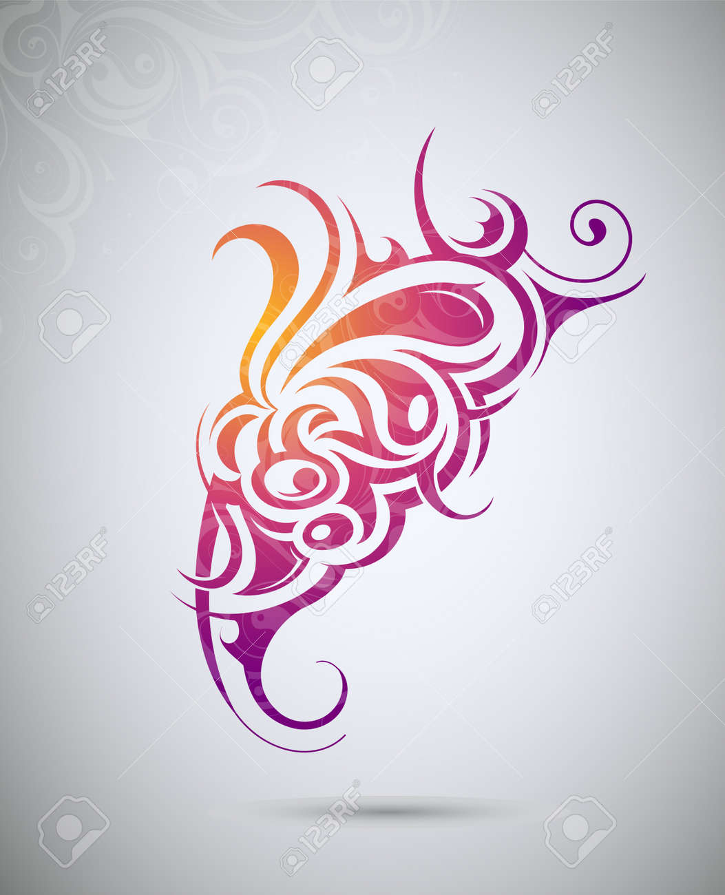 Decorative tattoo shape with floral elements - 17795382