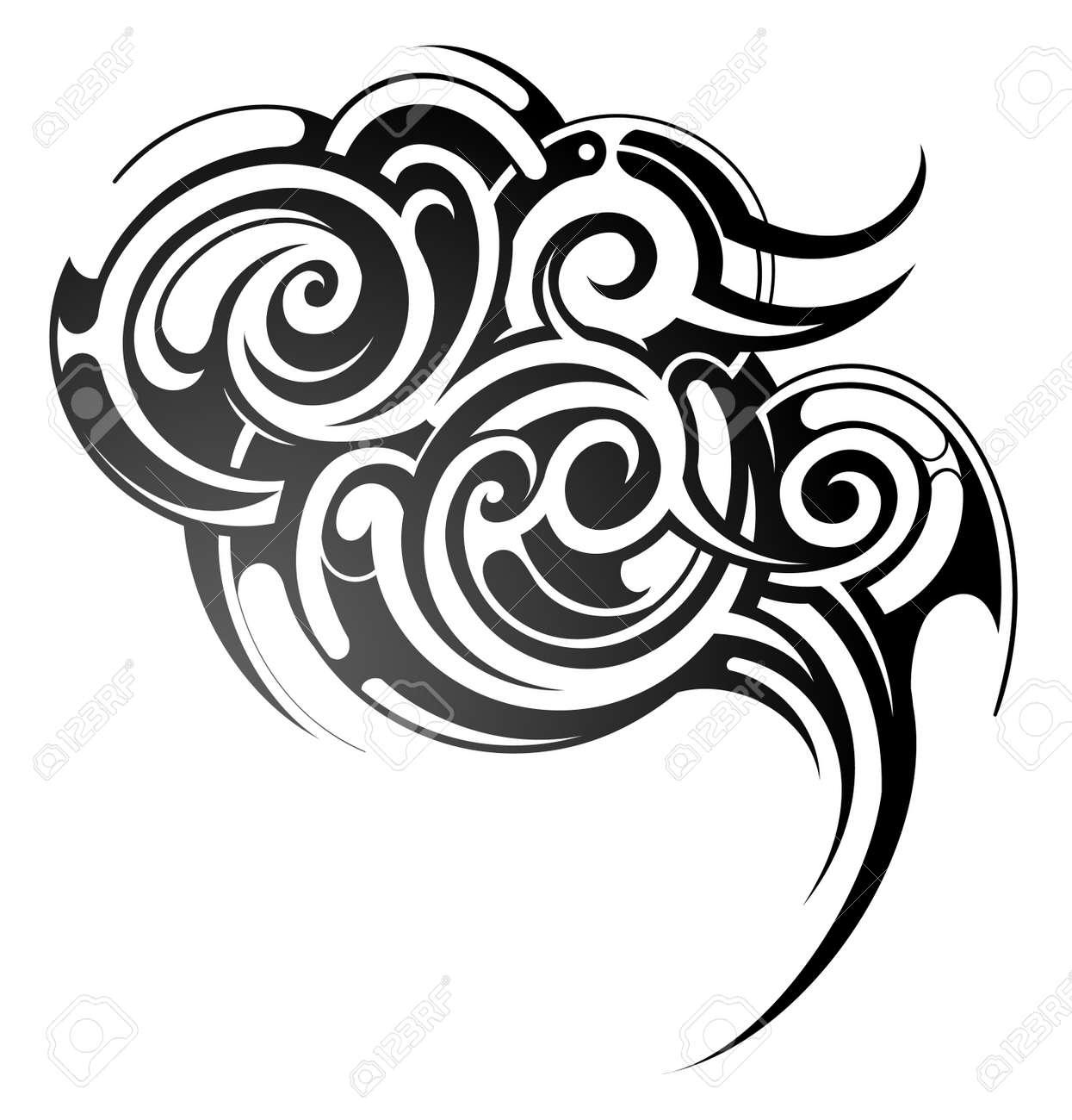 Decorative tribal art tattoo isolated on white - 18561131