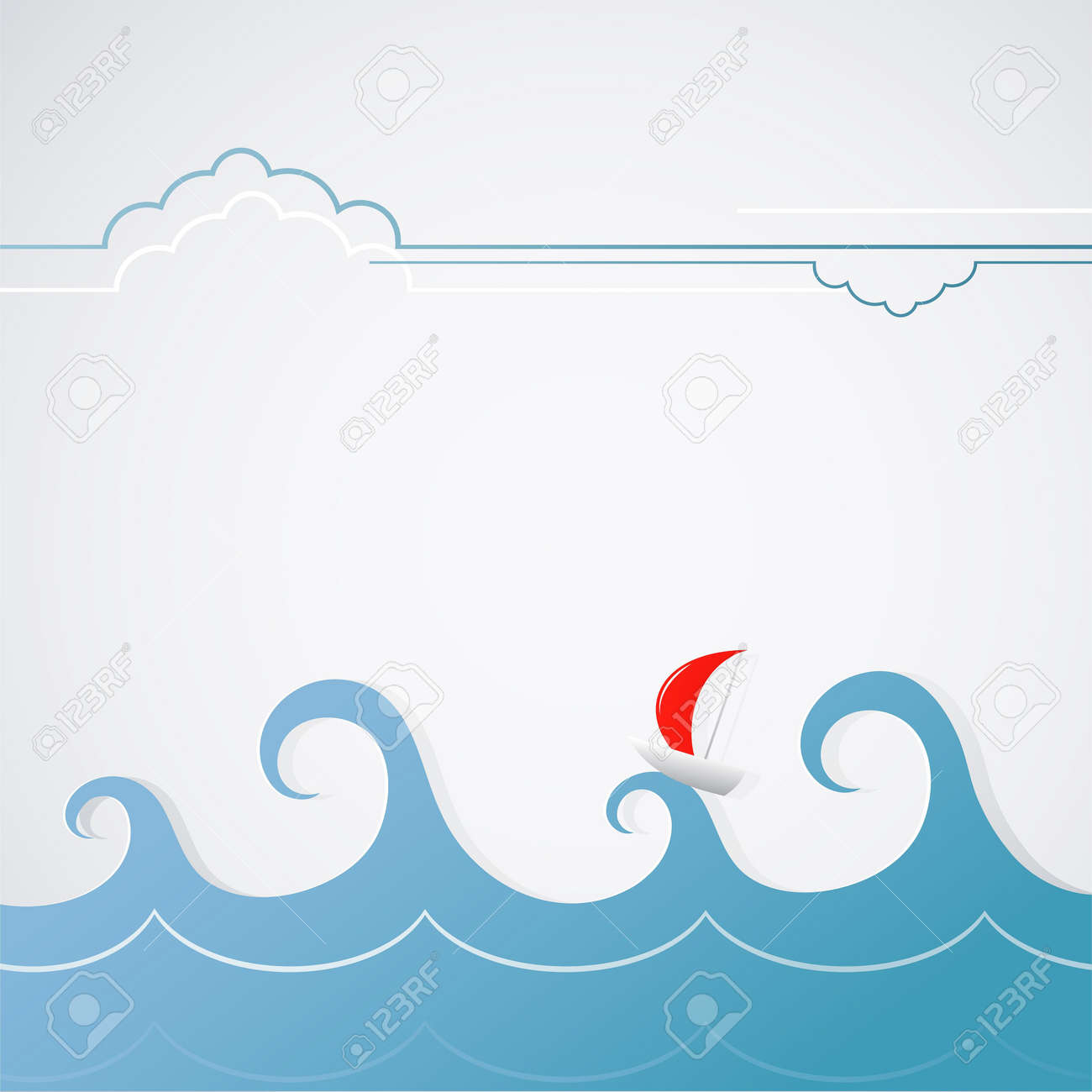 A Yacht With Stormy Waves. Simple Graphic Illustration Royalty ...