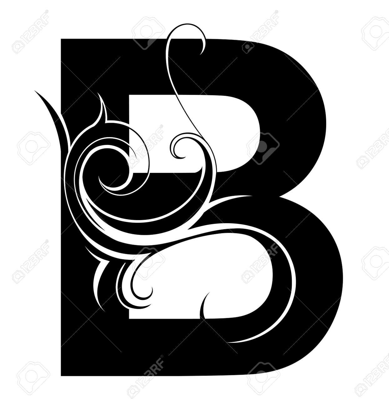Dekorative Brief Form Isoliert Auf Weiß Schrifttyp B Lizenzfrei