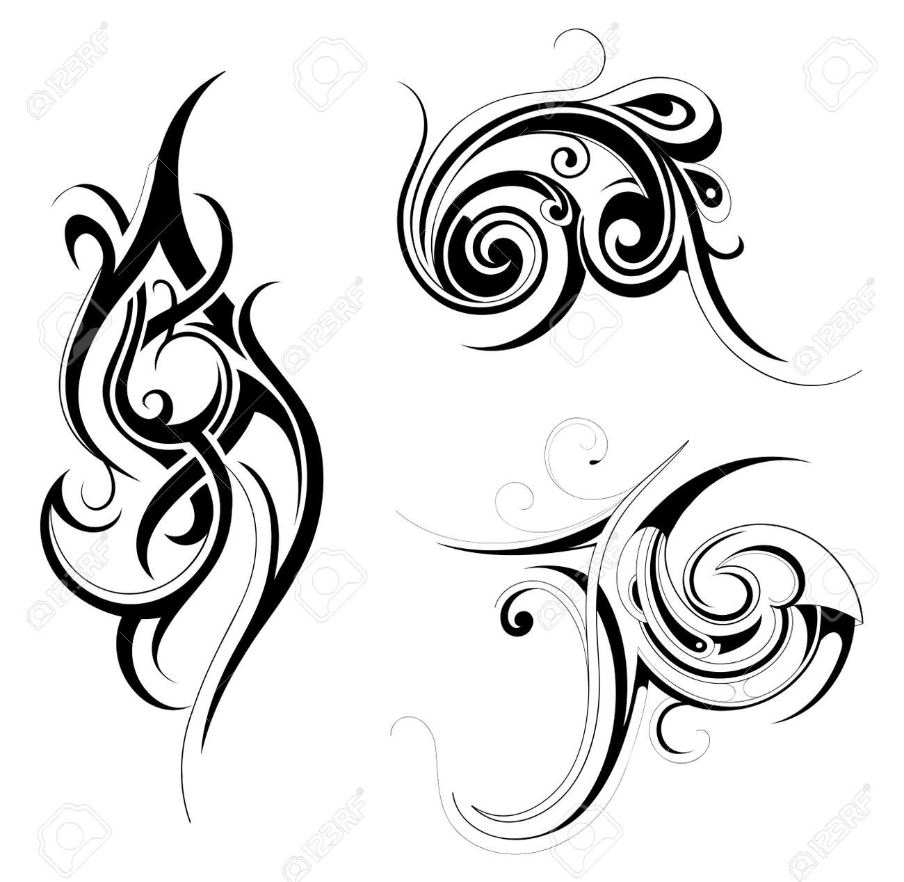 Set of various tribal art tattoo ornaments isolated on white - 25516566