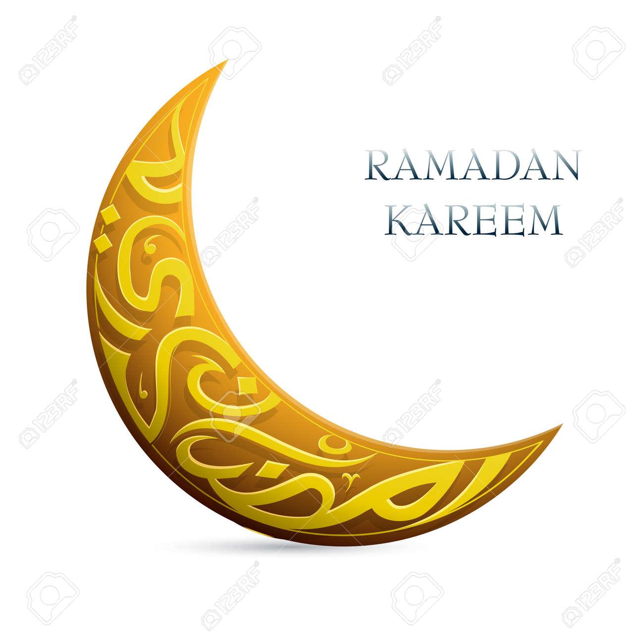 Artistic Islamic calligraphy shaped into crescent moon shape for Ramadan Kareem greetings - 29302360