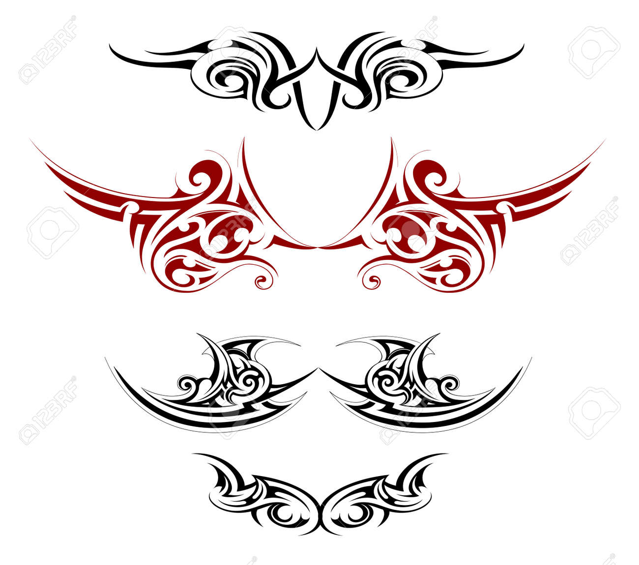 Set of various decorative wings tattoo designs - 31668541