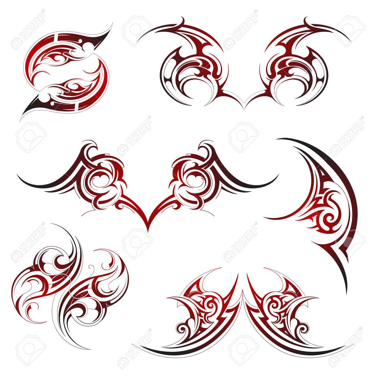 Tribal tattoo set with fire flame ornaments - 34229004