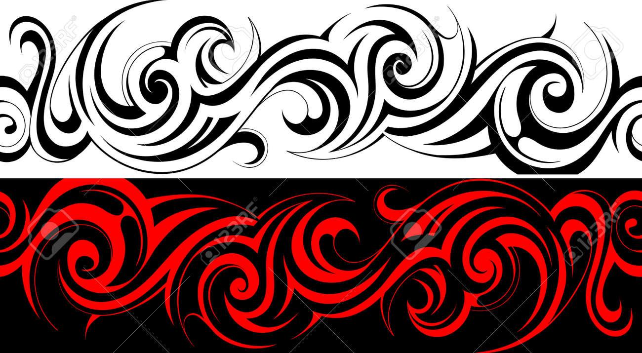 Seamless tribal tattoo pattern line - 35406851